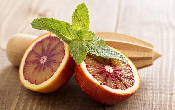 Фото обои апельсин, цитрус, дольки, листья мяты