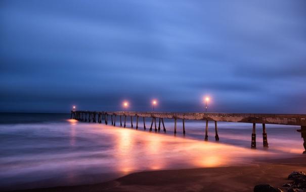 Фото обои море, пейзаж, ночь, мост