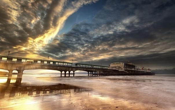 Фото обои пейзаж, мост, море