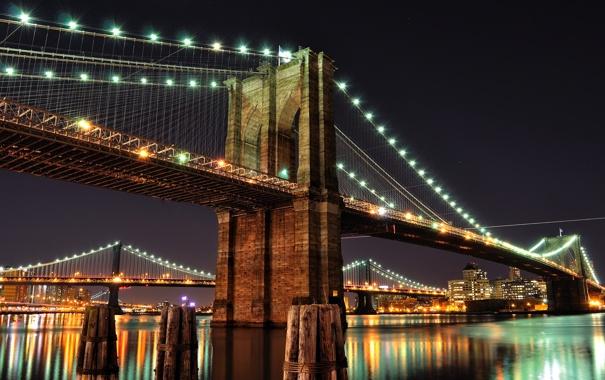 Фото обои ночь, мост, город, огни, река, Нью-Йорк, USA