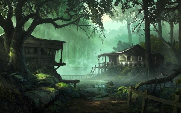 Фото обои болото, деревья, дома, туман, арт, andreewallin, домики