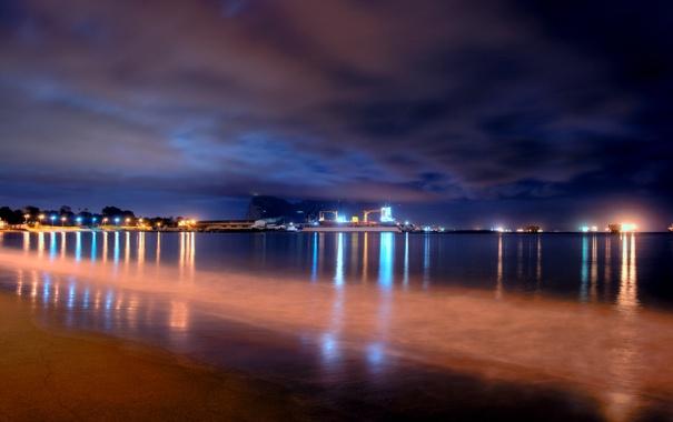 Фото обои море, пляж, огни, вечер, док