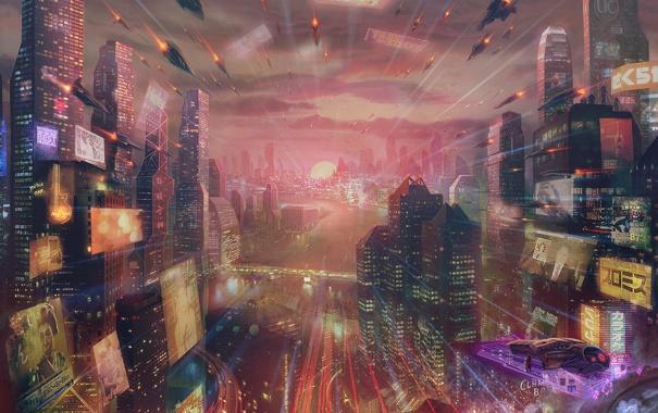 Фото обои город, будущее, дома, небоскребы, реклама, арт, мегаполис