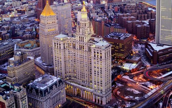 Фото обои крыша, снег, небоскреб, дома, Нью-Йорк, США
