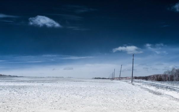 Фото обои зима, поле, пейзаж