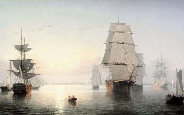 Фото обои рассвет, лодка, парусник, корабли, картина, порт, Fitz Henry Lane