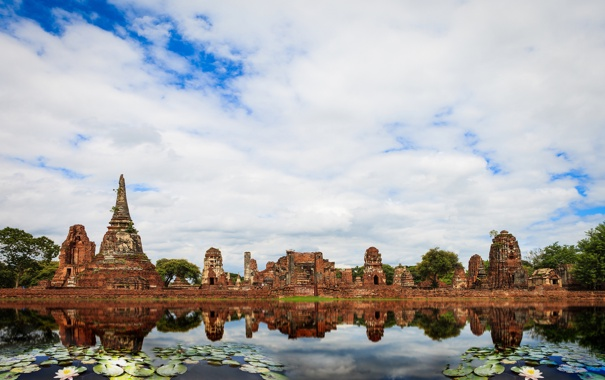 Фото обои листья, пруд, храм, круглые, Тайланд, Thailand, архитектура