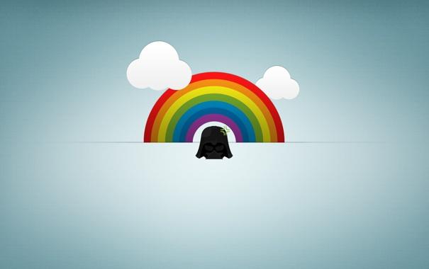 Фото обои облака, радуга, мини, дарт вейдер
