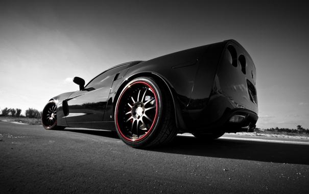 Фото обои чёрный, Z06, Corvette, Chevrolet, шевроле, black, корвет