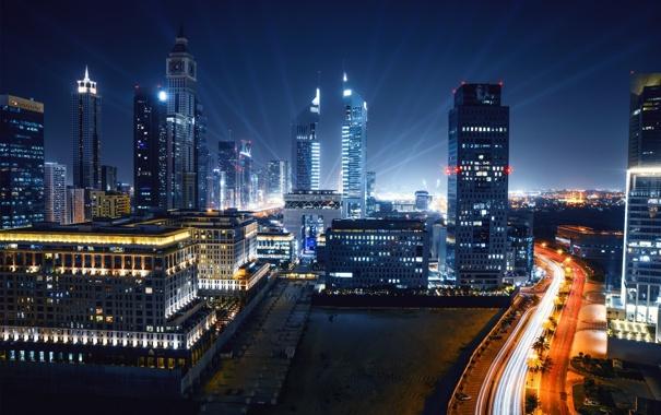 Фото обои ночь, city, город, огни, Дубай, Dubai, небоскрёбы