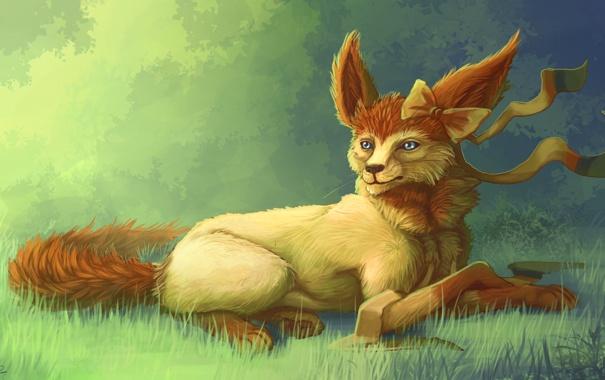 Фото обои трава, животное, арт, лиса, уши, бант