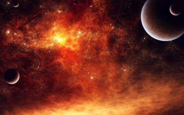 Фото обои космос, планеты, звёзды