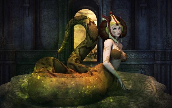 Фото обои взгляд, лицо, рендеринг, змея, хвост, league of legends, cassiopeia