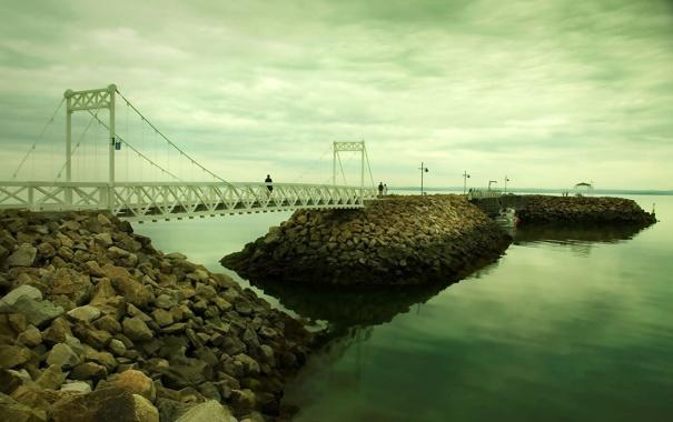 Фото обои камни, обои, люди, небо, пейзажи, вода, мосты