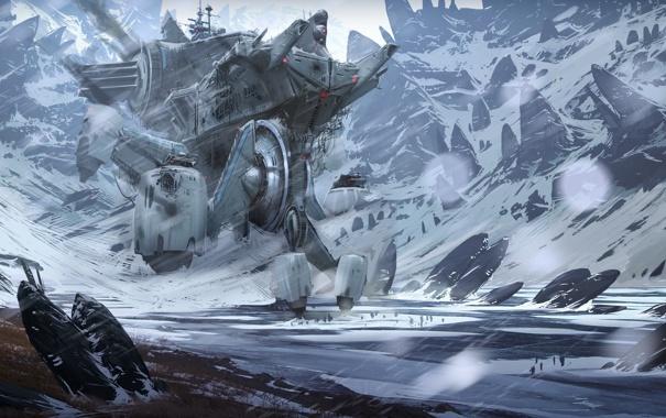 Фото обои снег, горы, люди, корабль, арт, Defiance