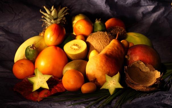 Фото обои стол, кокос, киви, ткань, груша, фрукты, грейпфрут