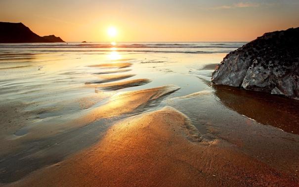 Фото обои море, пляж, солнце, золото