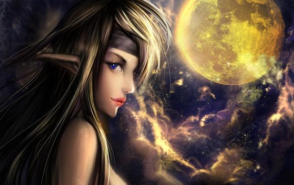 Фото обои взгляд, луна, арт, профиль, эльфийка, уши, фэнтази
