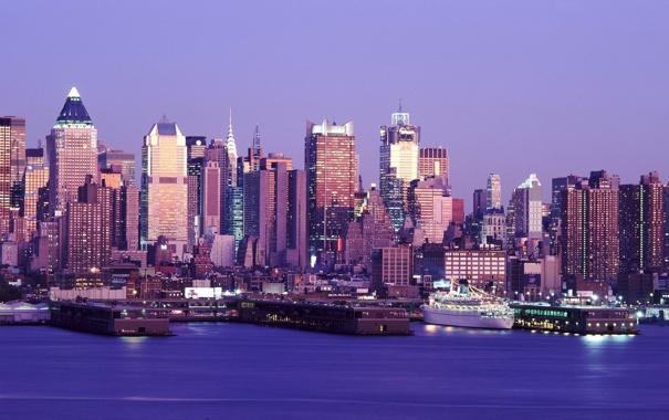 Фото обои синий, город, огни, панорама