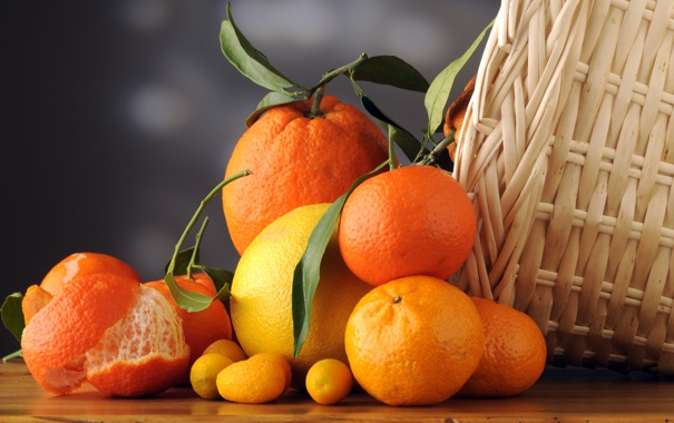 Фото обои листья, корзина, апельсины, фрукты, цитрусы, кожура, мандарины