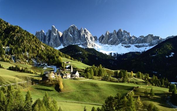 Фото обои снег, деревья, горы, дома