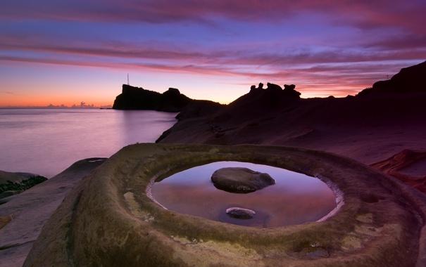 Фото обои море, закат, камни, побережье