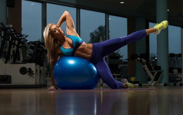 Фото обои legs, blonde, ball, fitness