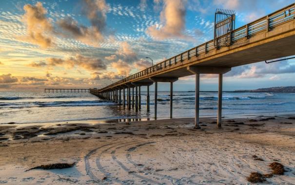 Фото обои море, пляж, небо, облака, природа, побережье, причал