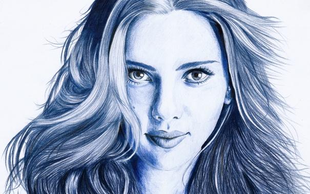 Фото обои взгляд, лицо, волосы, портрет, актриса, Scarlett Johansson, карандаш