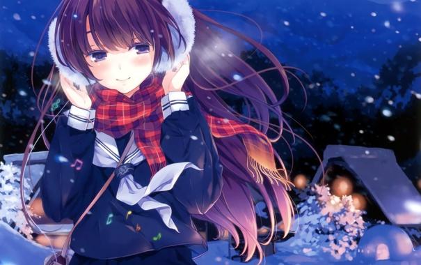 Фото обои зима, девушка, снег, деревья, горы, ночь, дома