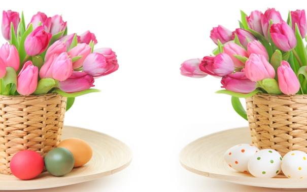 Фото обои цветы, яйца, Пасха, тюльпаны
