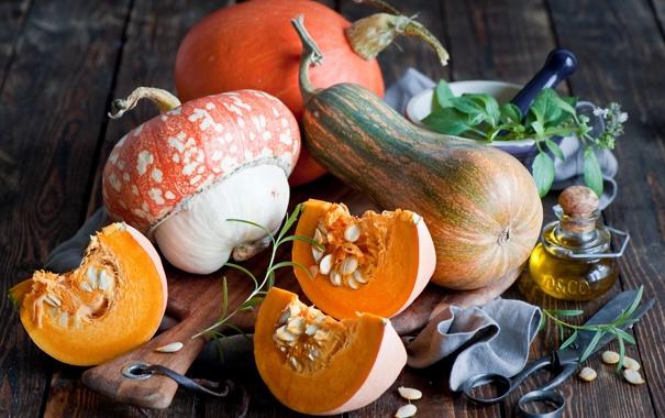 Фото обои осень, листья, масло, тыквы, овощи, ножницы, бутылочка