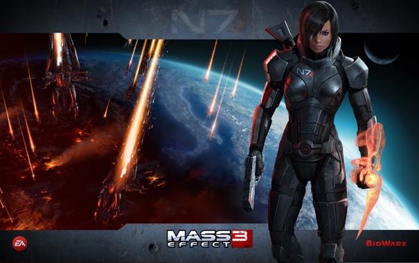 Фото обои оружие, женщина, игра, костюм, shepard, mass effect 3, шепард
