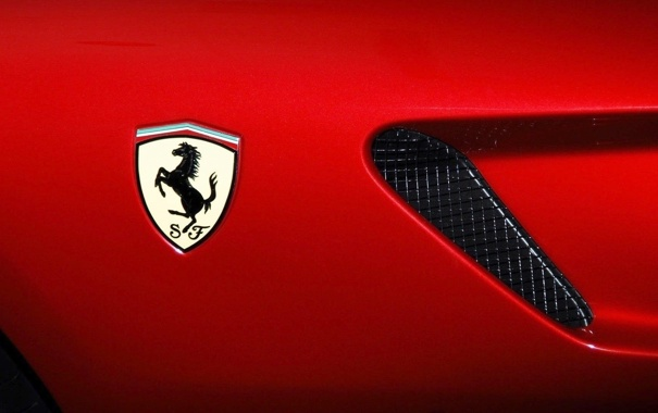 Фото обои Красный, Фон, Ferrari, Логотип