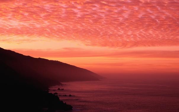 Фото обои закат, горы, океан