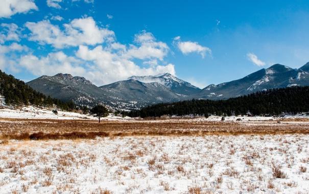 Фото обои зима, облака, снег, деревья, горы, природа, фото