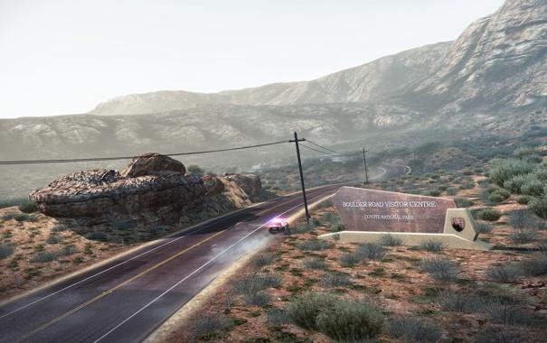 Фото обои дорога, машина, горы, полиция, Need For Speed: Hot Pursuit