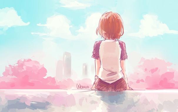 Фото обои небо, девушка, облака, деревья, город, спина, дома