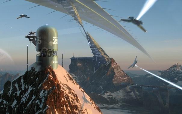 Фото обои горы, корабли, арт, сооружения, Amir Salehi