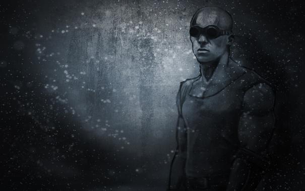 Фото обои темный фон, мужик, очки, Вин Дизель, Vin Diesel, Riddick, Риддик