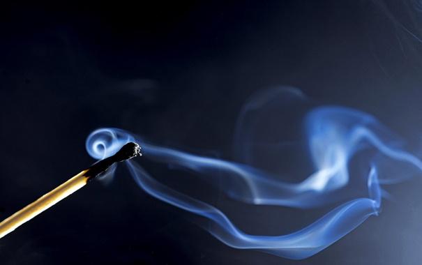 Фото обои макро, дым, спичка