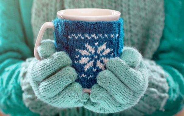 Фото обои зима, руки, кружка, winter, варежки, cup, какао