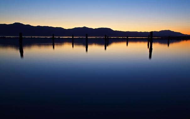 Фото обои пейзаж, закат, горы, природа, река, горизонт, водоём