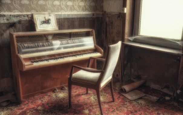 Фото обои музыка, окно, стул, пианино