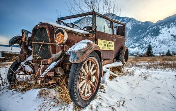 Фото обои glass, wood, snow, left, rust, old car