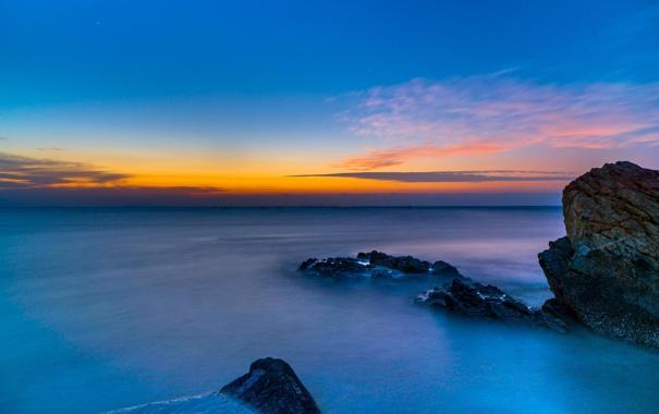 Фото обои пейзаж, океан, скалы, рассвет, горизонт