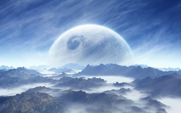 Фото обои туман, планета, кратеры
