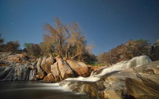 Фото обои небо, звезды, деревья, ночь, река, камни, поток