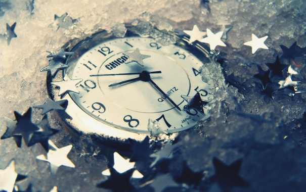 Фото обои часы, лёд, звездочки
