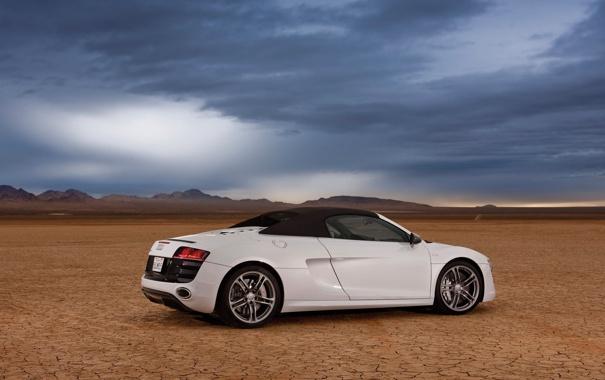Фото обои car, машина, небо, пустыня, sky, desert, 2012 Audi R8 GT Spyder